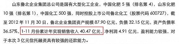 从上述公开披露的数据计算可以得知,鲁北集团2012至2014年间的年度营收一直稳定在40多亿元附近,季度营收约在10亿元附近,2015年鲁北集团的一季度营收约在17.63亿元左右,增长幅度较大,如果按照均值计算,全年的营收数字大概在70亿元附近。