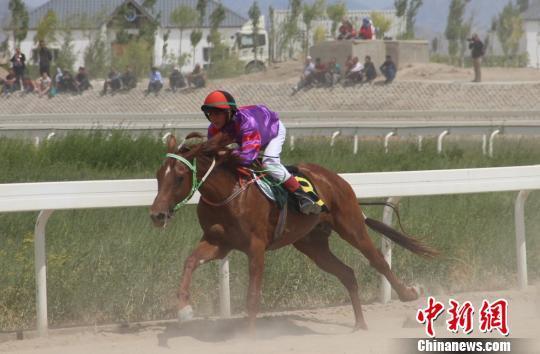 """21日,以""""策马奔腾?美在巴州""""为主题的2016中国速度赛马大奖赛第一站在素有""""塞外明珠--山水梨城""""之称的新疆巴音郭楞蒙古自治州(简称巴州)库尔勒市开幕。 刘万乐 摄"""