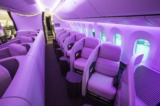 新西兰航空豪华公务舱内的浪漫紫色氛围