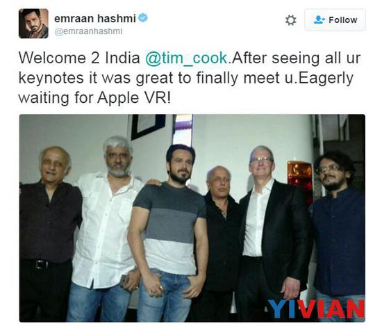 近期,苹果执行总监库克来完中国之后又去了印度, 并且已经与印度总理莫迪讨论了iDevice的未来。 在此期间他还与当地工商界领袖、年轻人以及宝莱坞明星进行了交流。