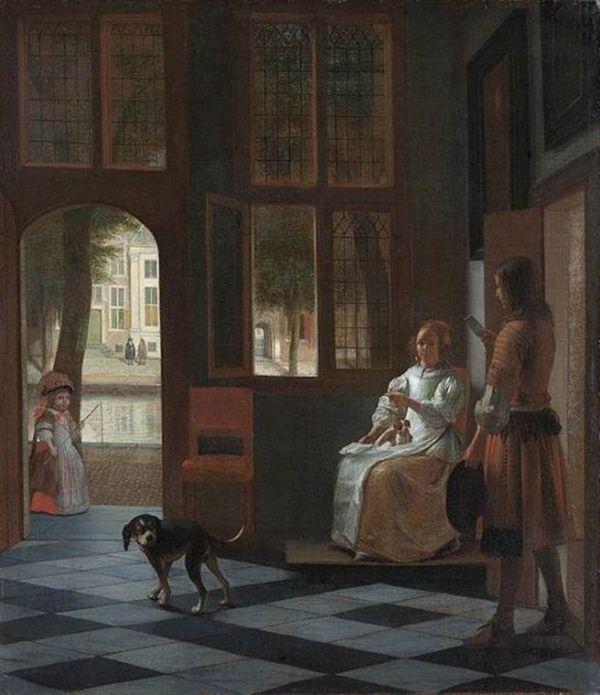 荷兰画家彼得德·霍赫制作的《汉子把一封信交给大厅中的姑娘》。