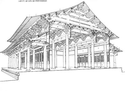 梁思成绘制的宋式大木构架示意图
