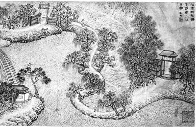 图中所画为米万钟的私家园林:勺园