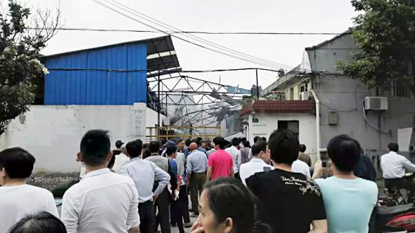 5月23日,青浦区练塘镇上海焦耳蜡业有限公司爆破事变现场。