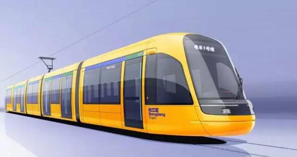 """上海松江T1线有轨电车""""蚕宝宝""""的车型构想图。"""