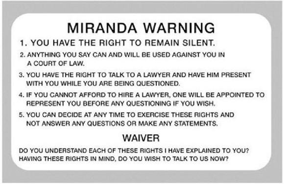 """根据维基百科解释,米兰达警告也称""""米兰达权利""""(Miranda Rights),即犯罪嫌疑人、被告人在被讯问时,有保持沉默和拒绝回答的权利。米兰达警告的产生源于1963年亚利桑那州女子米兰达被凤凰城警察逮捕事件。"""