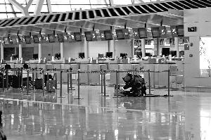 6月12日,在上海浦东机场,武警在扫除疑似爆破物。 新华社发