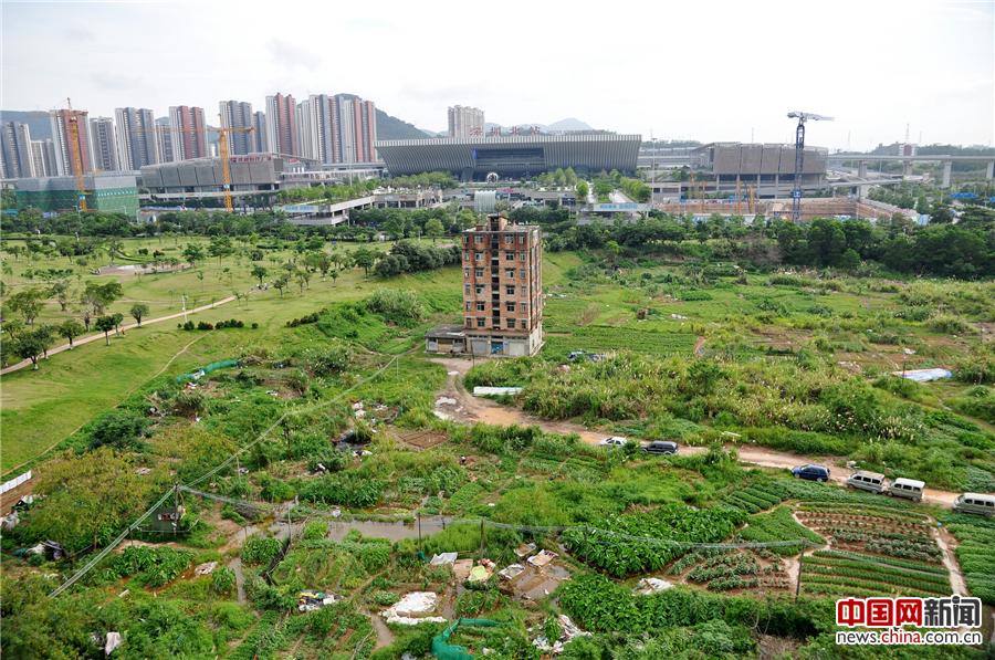 2016年6月13日,广东深圳,深圳龙华新区深圳北站附近,一栋墙体裸露红砖、显得破旧的七层小楼,孤零零地伫立在空地上,犹如一座孤岛,与远处的高楼形成巨大的反差。2011年,广深高铁开通,这栋950平米的建筑,曾被谈到2000多万的补偿款,由于屋主的拒绝,至今仍高耸至此。前不久(6月8日),龙华新区地理位置远不如此的一宗商住混合用地,成交价被拍出140.6亿元,晋升今年全国土地总价新地王。这栋犹如孤岛的七层小楼,重新回到公众的视野。