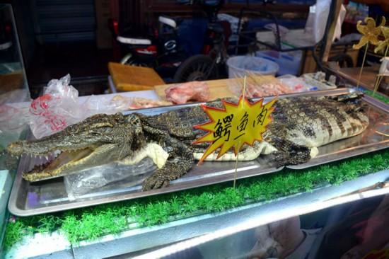 13日,辽宁沈阳现鳄鱼肉烤串引围观。两条成年鳄鱼被摆在一烧烤摊上,商贩现场制作鳄鱼肉烤烧,20元一串,张牙舞爪的鳄鱼被端上餐桌,引来不少市民围观。