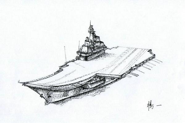 """海军兵哥哥:一支中性笔手绘""""航空母舰""""惊艳网友"""