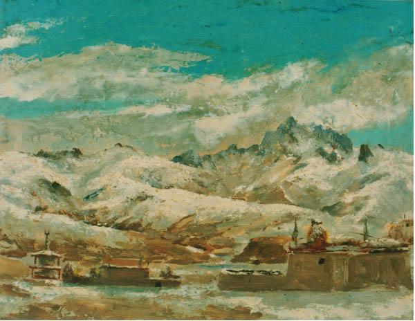 甘孜雪山 油画 29×38 1944年 中国美术馆收藏.