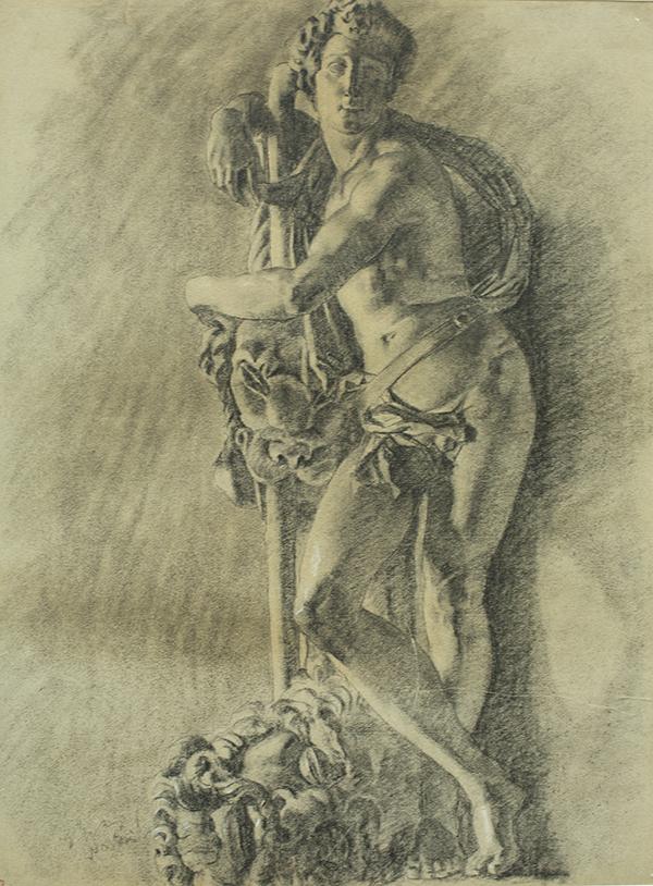 大卫石膏像 纸质 炭笔 63×48 1930年.