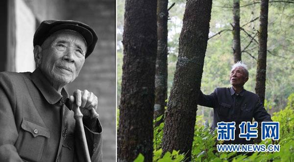 左图:杨善洲的资料照片(2009年10月摄);右图:杨善洲在大亮山林场(2009年摄)。云南省原保山地委书记杨善洲1988年退休后带领群众和林场职工,在施甸县大亮山艰苦奋斗20多年创办林场,造林5万多亩,2010年10月因病逝世。新华社发
