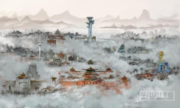 一组关于表现北京雾霾的手绘画稿在网络上疯传,该组作品是以全景的