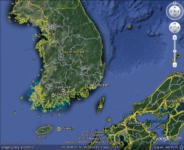 谷歌地图上的韩国