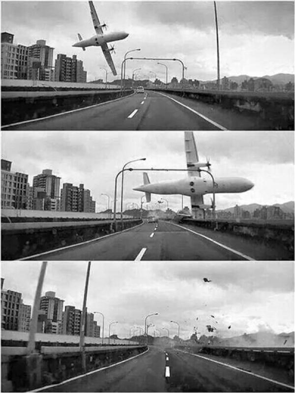 复兴航空GE235班机坠河瞬间(图片来源于网络)