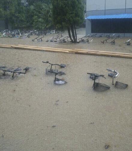 停车场被淹。图片来自网络