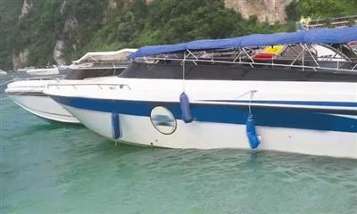 据泰国媒体报道,7日一中国小伙在泰国皮皮岛出海游玩时,遭船桨夺命,图为事发海域。图据泰国星暹日报