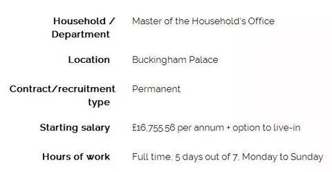 至于各人最关怀的福利福利,民家给出的年薪是16755英镑,约合公民币14.6万元。整年33天假期,供给三餐,还能够住在白金汉宫。