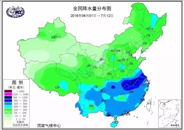6月1号到7月12号的降水实况,可见长江流域下雨最多,其中安徽湖北最为突出。图片来自国家气候中心