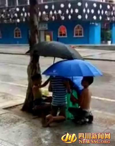 小搭档为文文撑伞。