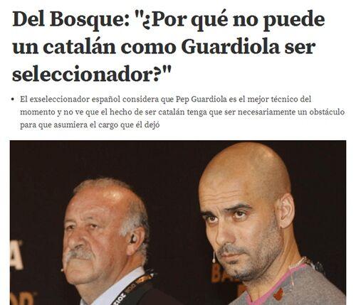 博斯克大赞瓜迪奥拉是世界最佳教练,并盼其执教西班牙。