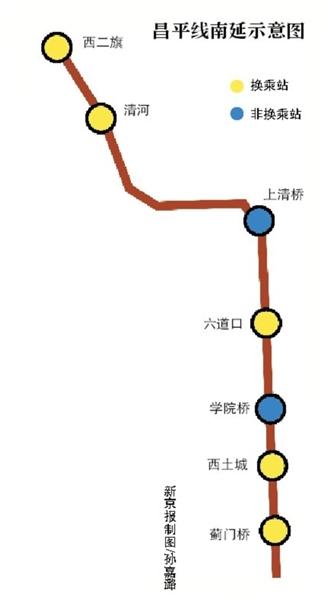 北京地铁昌平线将从西二旗南延到蓟桥