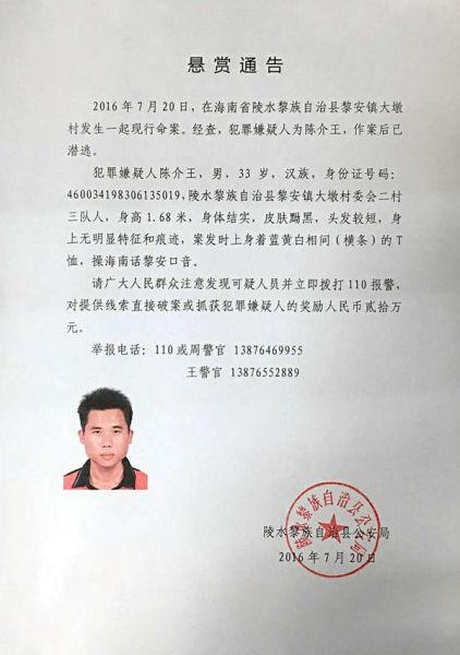 海南陵水赏格20万元通缉致死村干部犯法怀疑人
