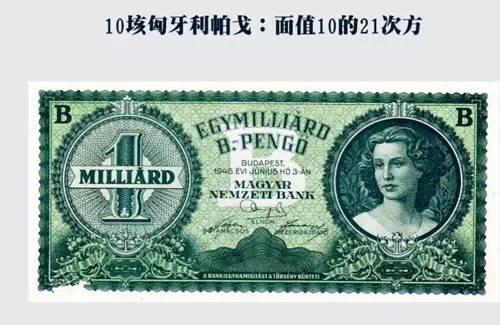 匈牙利面值10的21次方的纸币