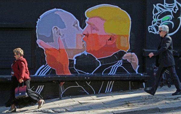 川普热吻普京街头涂鸦在网路疯传