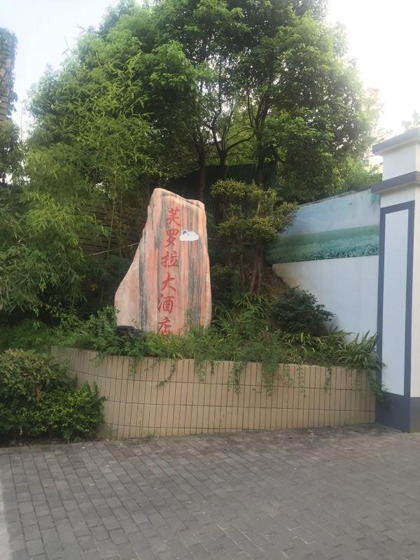 """""""违建""""门口的一座假山上写着""""芙罗拉大旅店""""。"""