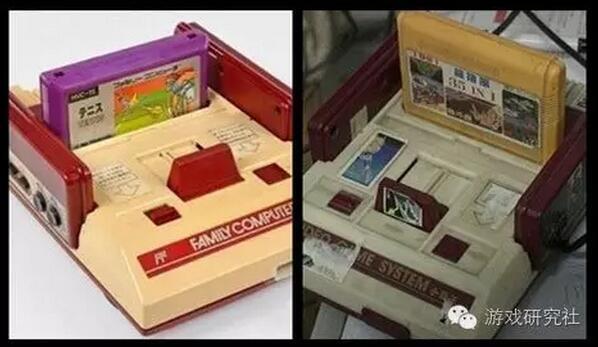 任天堂红白机(左)与小霸王游戏机(右)