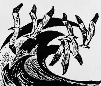 《春潮》木刻版画1978年45.5 39cm中国美术馆藏