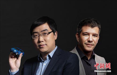 左:滴滴出行创始人兼CEO程维。右:Uber创始人Travis Kalanick。