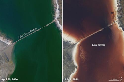 近几年,因为气候干旱和农业引水限制了淡水流入湖内,乌尔米湖变色可能会更加频繁。