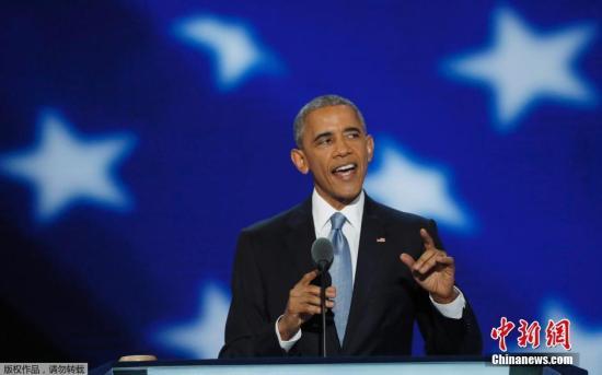 当地时间7月27日,美国费城,美国总统奥巴马出席民主党全国代表大会,发表演讲。