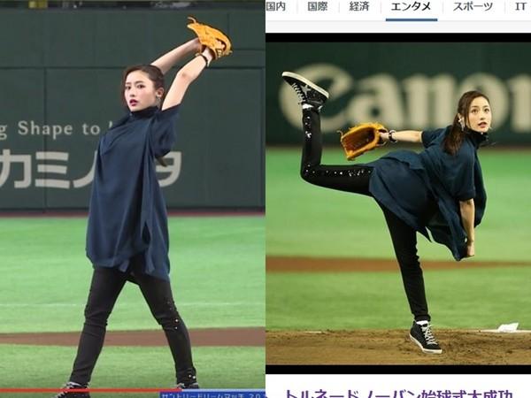 [日韩星闻]女神乐开花!石原里美为棒球赛开球 细腿好抢镜