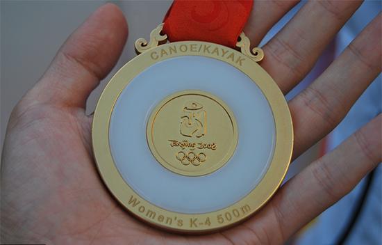 北京奥运会金牌正面。 资料