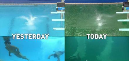 网友晒出前后两天的水池对比图,仅仅一天里约跳水池就已看不到运动员了