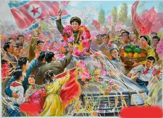 """朝鲜国画中的""""百万人欢迎郑成玉""""的场景。"""
