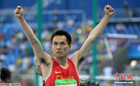 三级跳场地_当地时间8月16日,里约奥运田径赛场男子三级跳决赛,中国选手董斌第一