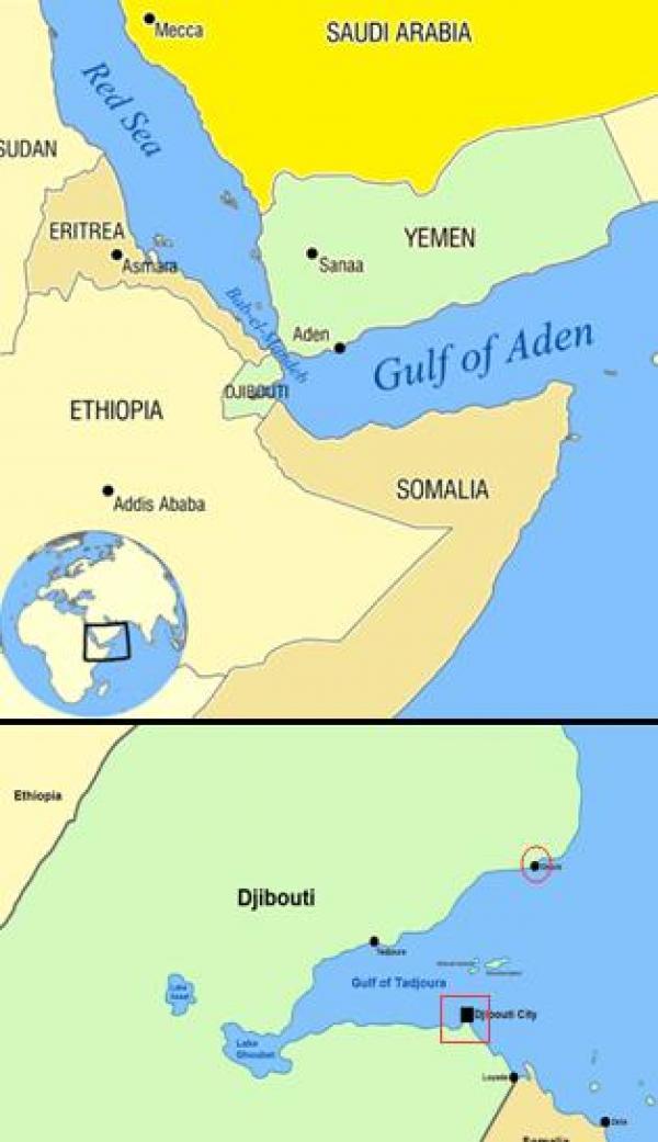 吉布提面积2.3万平方公里,人口90万,位于东非,濒临红海和亚丁湾