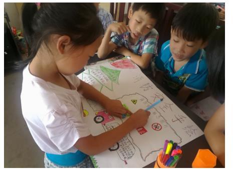 儿童自己手绘消防海报