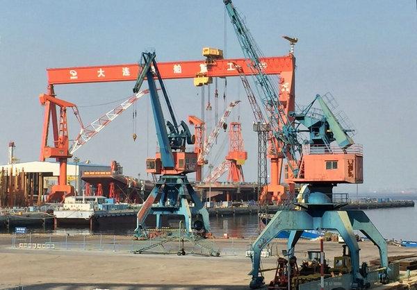 资料图:国内船厂在建的首艘国产航母。