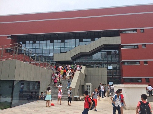 郑东新区聚源路小学开学典礼仪式上几名学生晕倒。文内图均来自 大河报?大河客户端