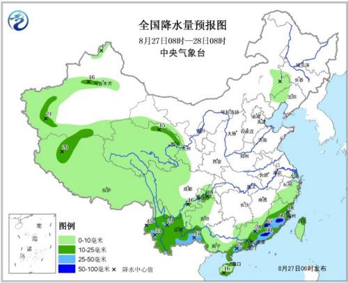 天下降水量预告图(8月27日08时—28日08时)。地方气候台网站。