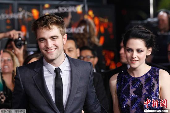 资料图:罗伯特-帕丁森(Rob Pattinson)和克里斯汀-斯图尔特(Kristen Stewart)。