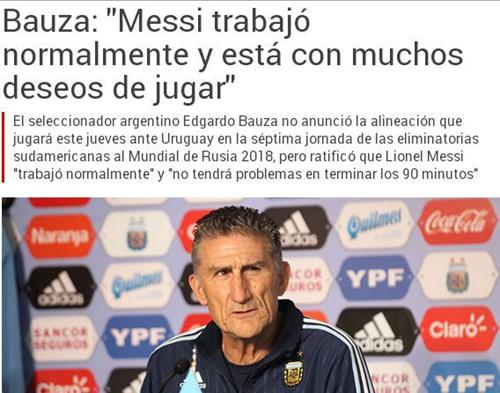 阿根廷主帅:梅西可以踢90分钟