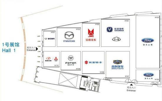 一号馆的品牌都有:海马、马自达、江铃、长安、福特、铃木、吉利、福田、东南、东南三菱。