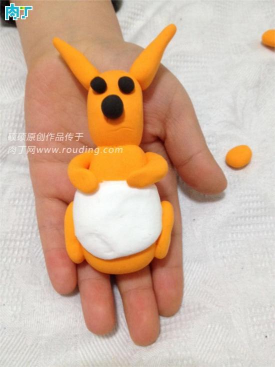 创意儿童轻粘土手工小制作之可爱的小袋鼠教程(组图)
